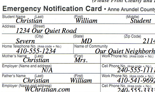 Sample AACPS Emergency Notification Card