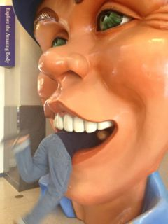 Me in the mouth of a huge bust at the Houston Museum of Health and Medical Science